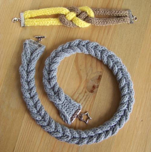 Still vauriens collier et bracelet en tricot tress - Comment terminer un tricotin ...